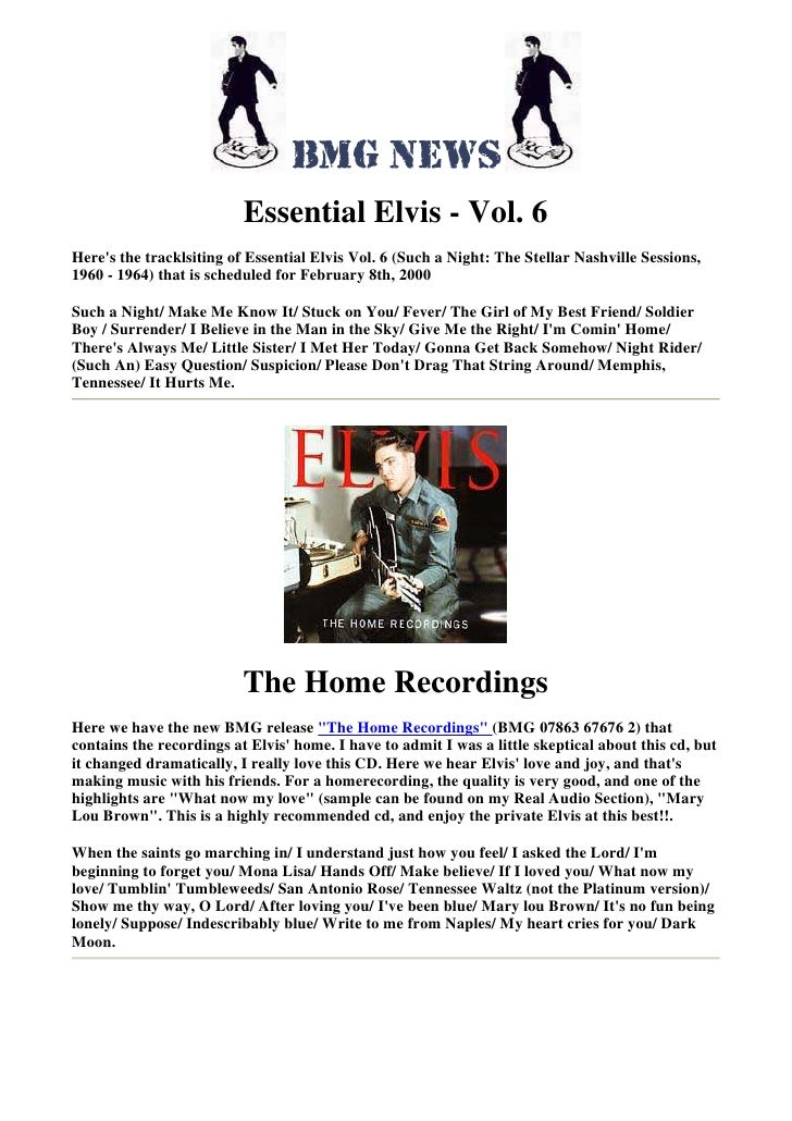 Essential Elvis - Vol. 6 Here's the tracklsiting of Essential Elvis Vol. 6 (Such a Night: The Stellar Nashville Sessions, ...