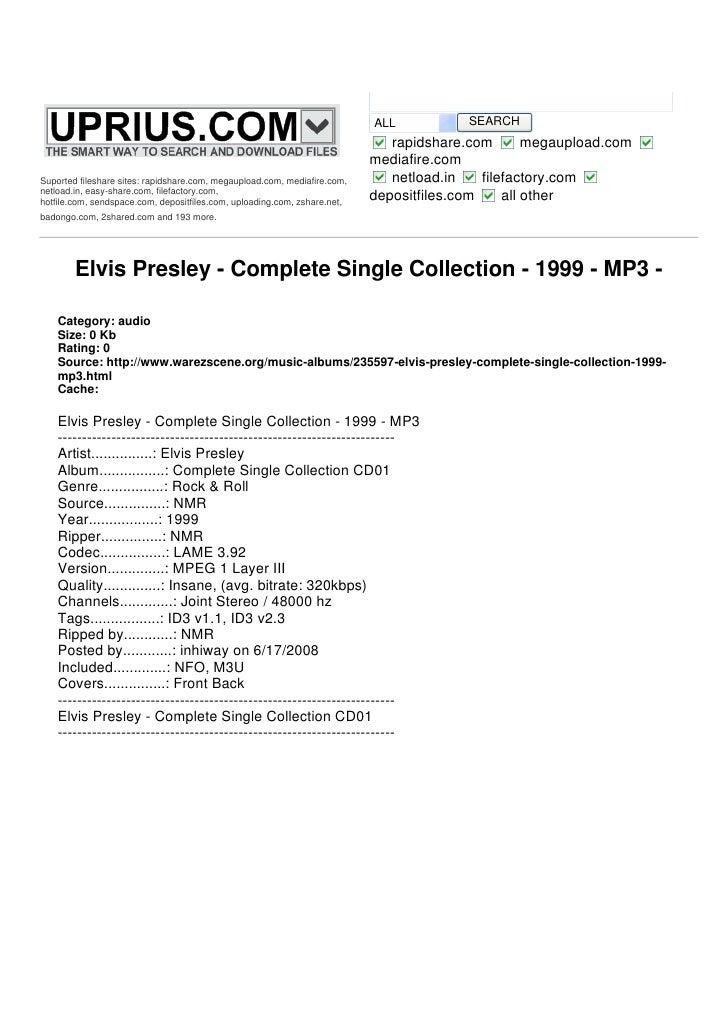 Elvis Presley   Complete Single Collection   1999
