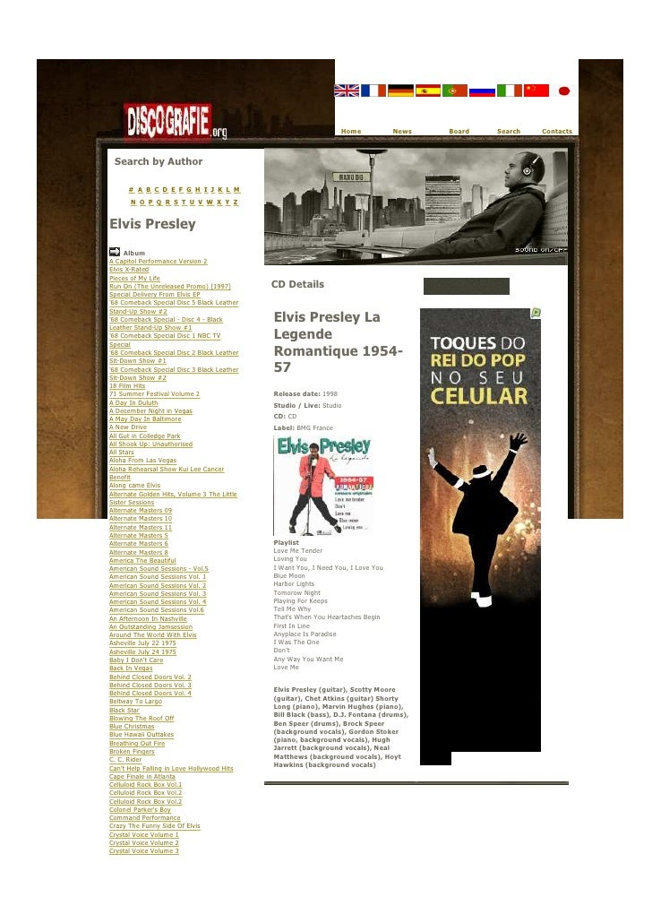 Elvis Presley La Legende Romantique 1954 57   Bmg France 1998