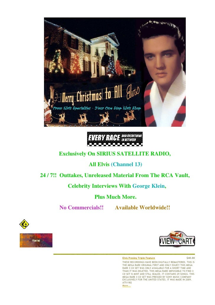 €         €                      Exclusively On SIRIUS SATELLITE RADIO,                             All Elvis (Channel 13)...