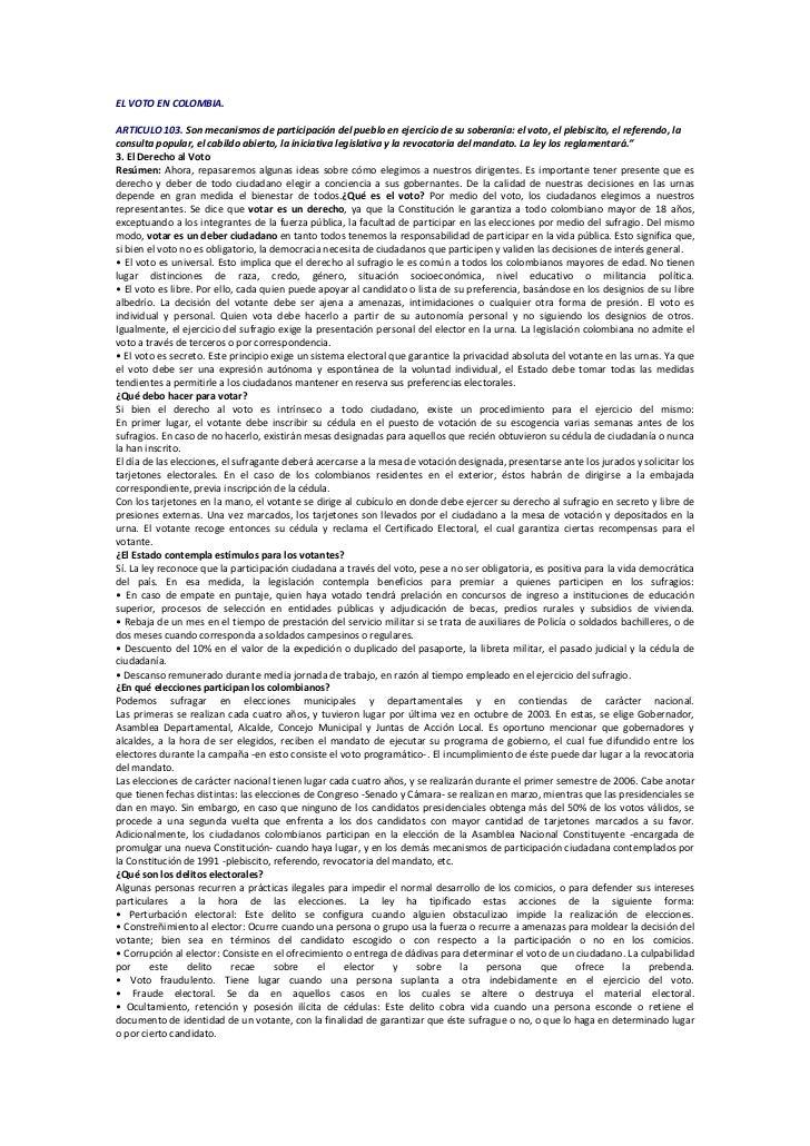 El voto en colombia