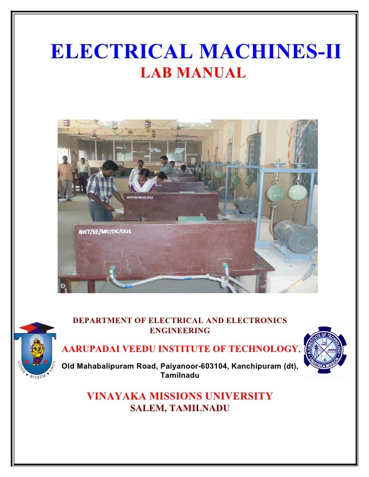 ELECTRICAL MACHINES-II                   LAB MANUAL  DEPARTMENT OF ELECTRICAL AND ELECTRONICS                ENGINEERINGAA...