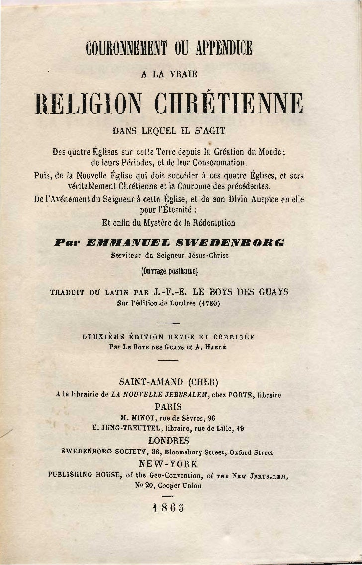 COURONNEMENT OU APPENDICE                                  A LA VRAIE    R.ELIG-ION CHRÉTIENNE                          DA...