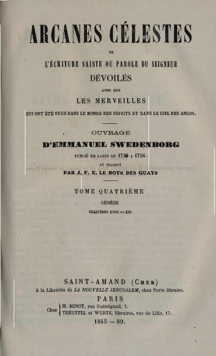 Em Swedenborg Arcanes Celestes Tome Quatrieme Genese Xviii Xxi Numeros 2135 2759 Le Boys Des Guays 1845 1889