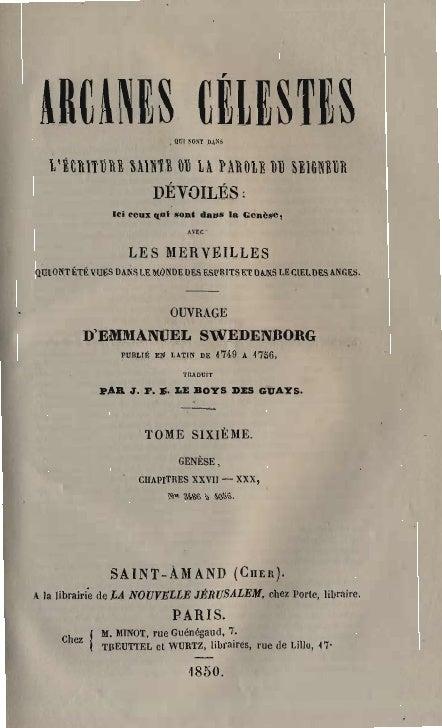 Em Swedenborg Arcanes Celestes Tome Sixieme Genese Xxvii Xxx Numeros 3486 4055 Le Boys Des Guays 1850