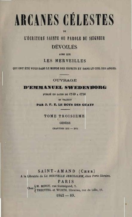 Em Swedenborg Arcanes Celestes Tome Troisieme Genese Xiii Xvii Numeros 1521 2134 Le Boys Des Guays 1845 1889