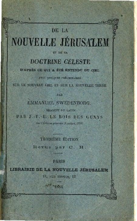 """, ~~1~--~~~ ~ I*"""""""",- ...:.                                           DE LA'     NOUVELLE JÉRUSALEM                       ..."""