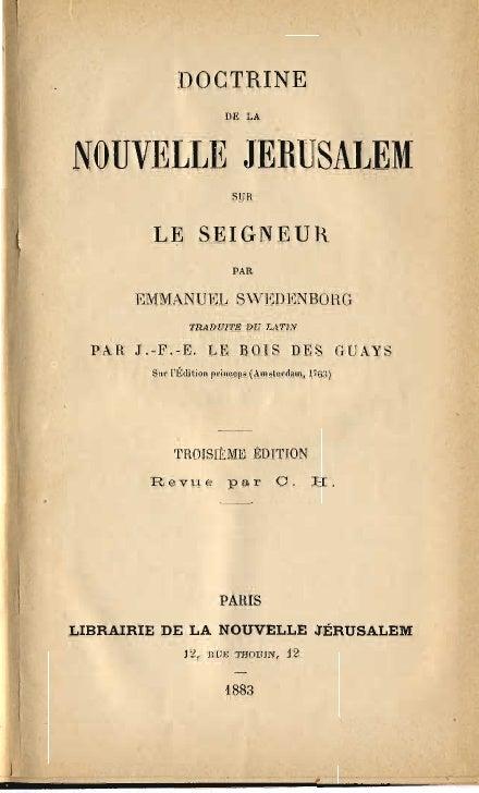 Em Swedenborg Doctrine De La Nouvelle Jerusalem Sur Le Seigneur Le Boys Des Guays 1883