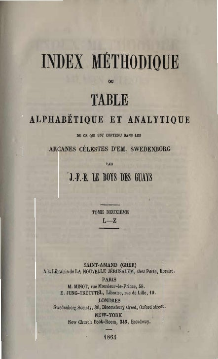 INDEX MÉTHODIQUE                                    ou                            TABLE  ALPHABÈTIQUE ET ANALYTIQUE       ...
