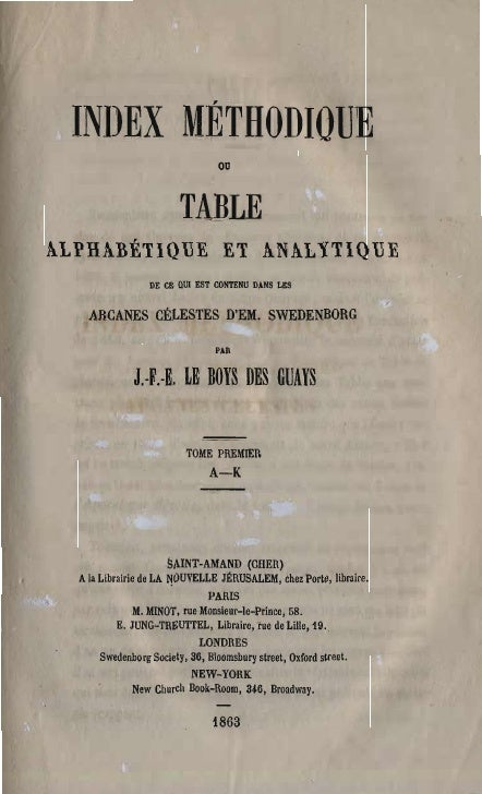 INDEX MÉTHODIQUE                                   ou                           TABLE  ALPHABÉTIQUE ET ANALYTIQUE         ...