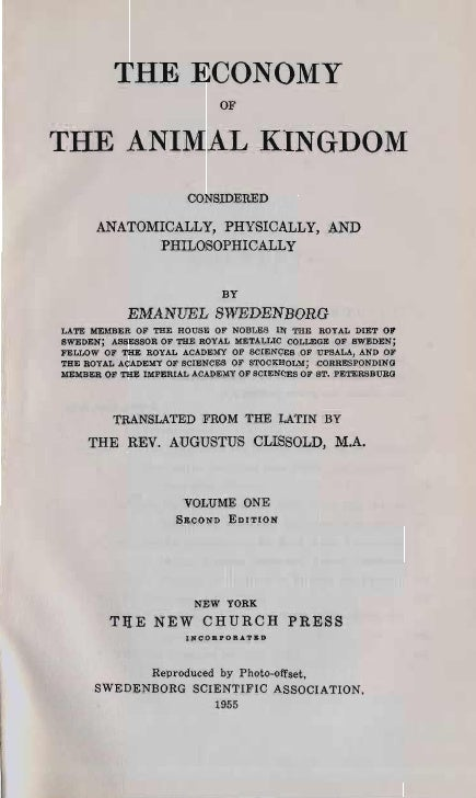 Em swedenborg-the-economy-of-the-animal-kingdom-1740-1741-two-volumes-augustus-clissold-1845-1847-the-swedenborg-scientific-association-1955-first-pages
