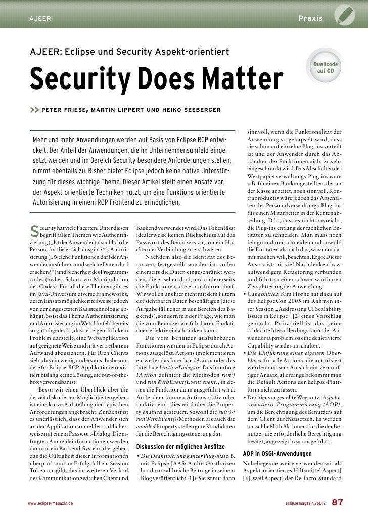 Praxis AJEER    AJEER: Eclipse und Security Aspekt-orientiert   Security Does Matter                                      ...