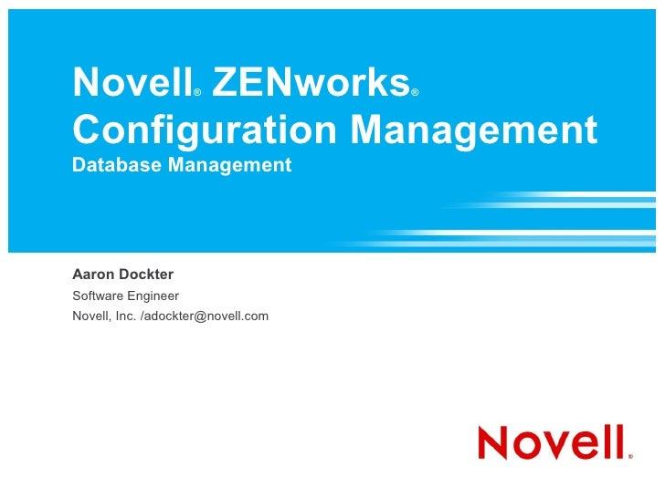 Novell ZENworks Configuration Management Database Management