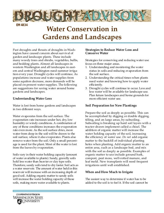 EM4834                           Water Conservation in                          Gardens and LandscapesPast droughts and th...
