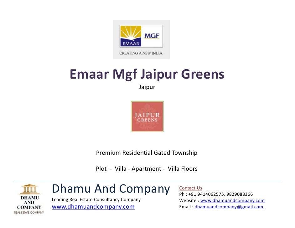Emaar Mgf - Jaipur Greens Residential Township - www.dhamaundcompany.com