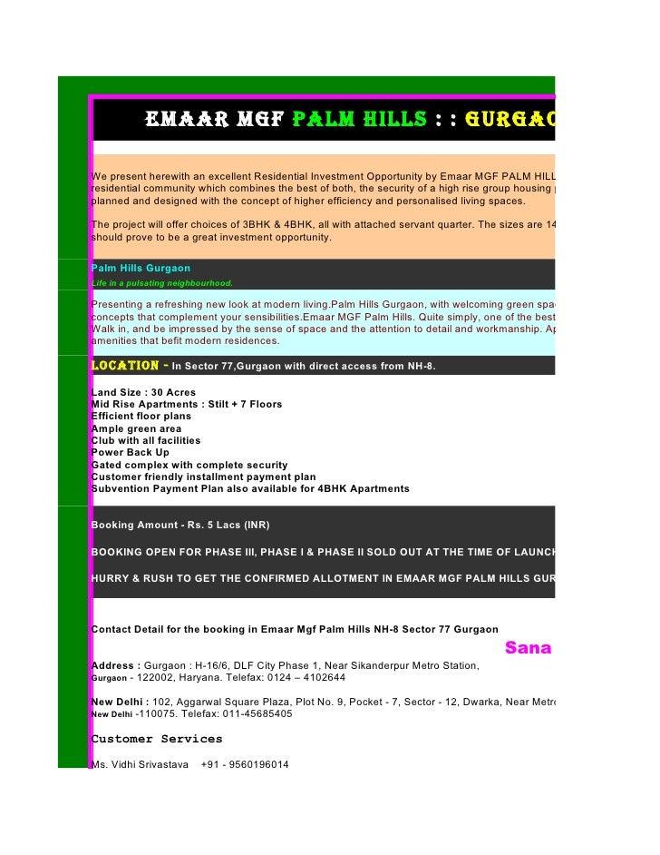 Emaar Mgf Palm Hills :: Gurgaon :: Project Detail