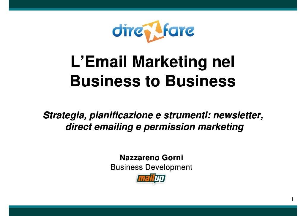 L'Email Marketing nel       L'Email       Business to Business  Strategia, pianificazione e strumenti: newsletter,       g...