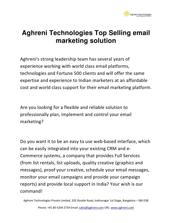 Aghreni Technologies Top Selling email           marketing solution  Aghreni's strong leadership team has several years of...