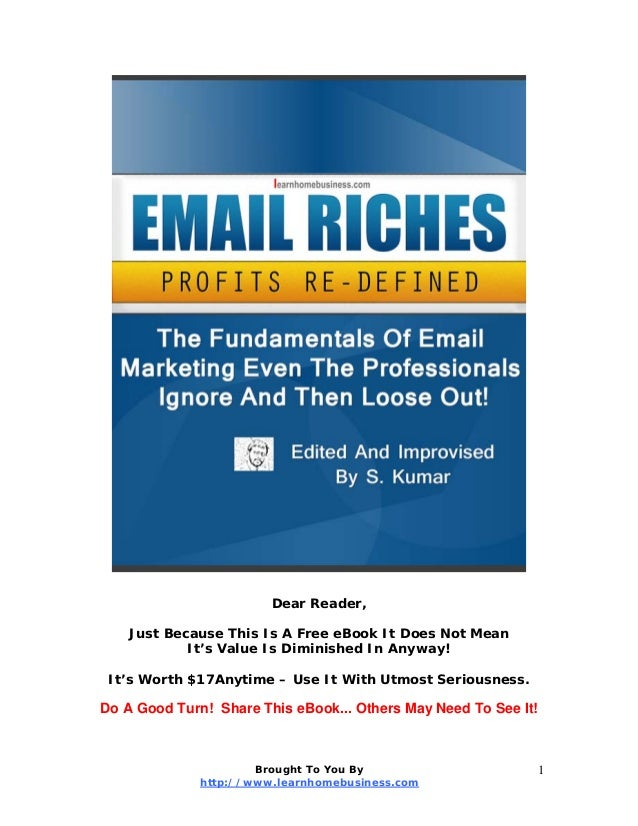 Dear Reader, Just Because This Is A Free eBook It Does Not Mean It's Value Is Diminished In Anyway! It's Worth $17Anytime ...