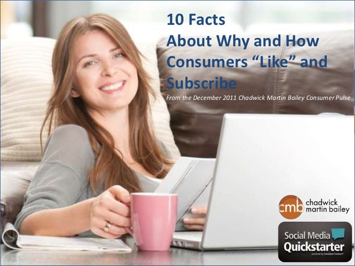 """10 FactsAbout Why and HowConsumers """"Like"""" andSubscribeFrom the December 2011 Chadwick Martin Bailey Consumer Pulse"""