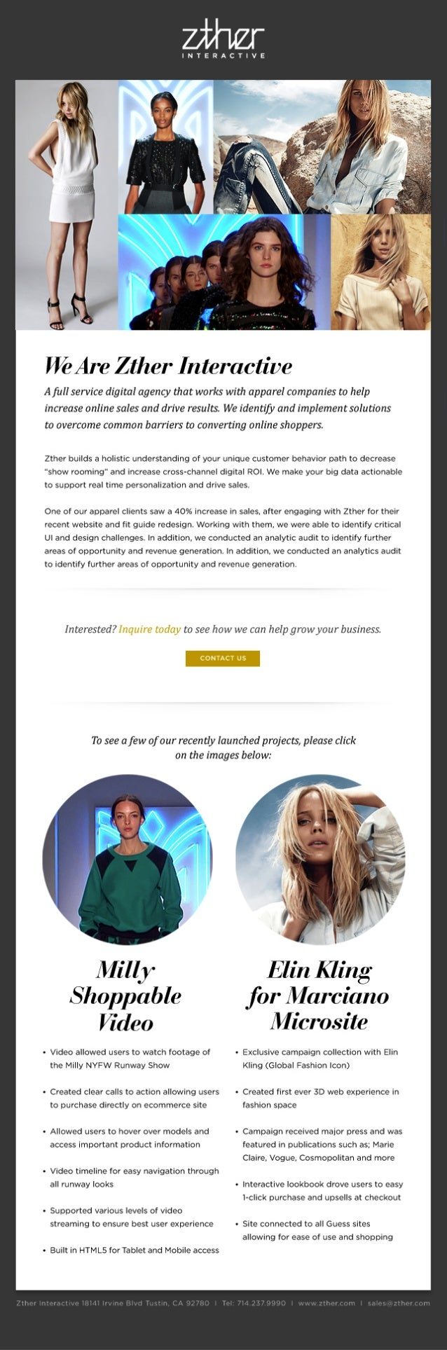 Zther Interactive email marketing campaign