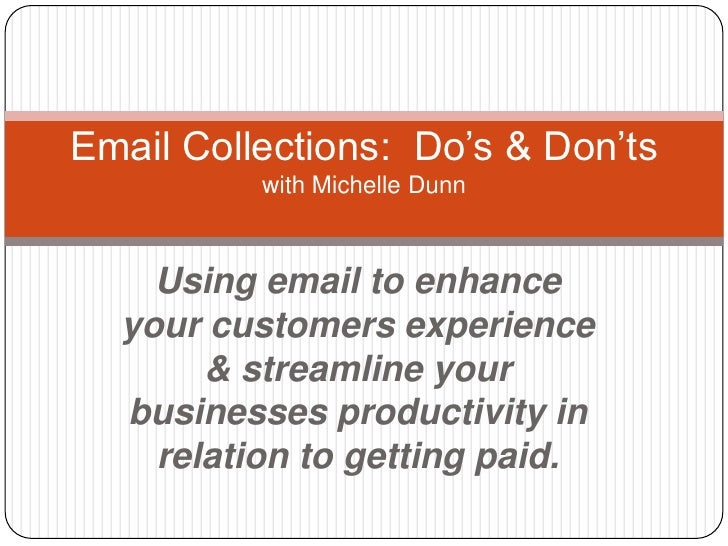 Using email to enhance your customers experience & streamline your businesses productivity in relation to getting paid.<br...