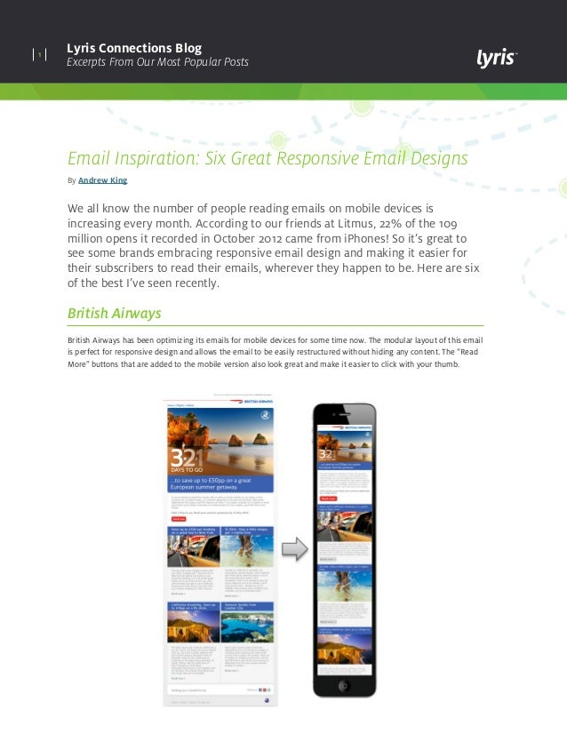 1 Lyris Connections Blog Excerpts From Our Most Popular Posts Email Inspiration: Six Great Responsive Email Designs By And...