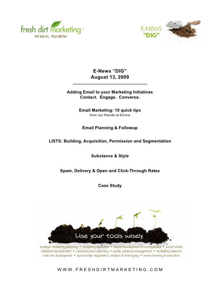 "Fresh Dirt Marketing Email Marketing ""DIG"" 8/13/09"