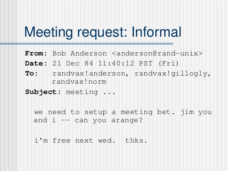Meeting request etiquette