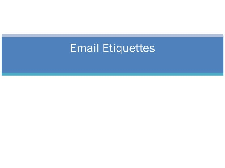 Email Ettequetes