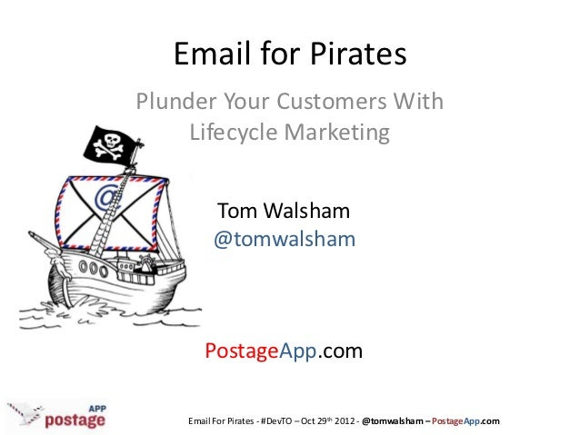 Email for PiratesPlunder Your Customers With     Lifecycle Marketing         Tom Walsham         @tomwalsham       Postage...