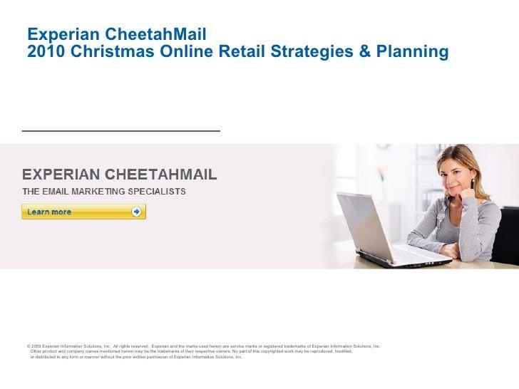 Experian CheetahMail 2010 Christmas Online Retail Strategies & Planning