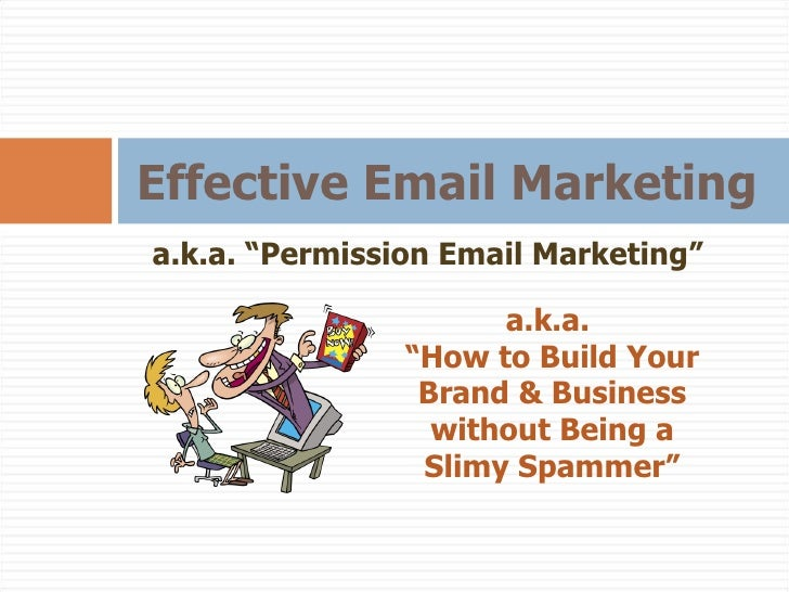 "Effective Email Marketing a.k.a. ""Permission Email Marketing"" a.k.a.  "" How to Build Your Brand & Business without Being a..."