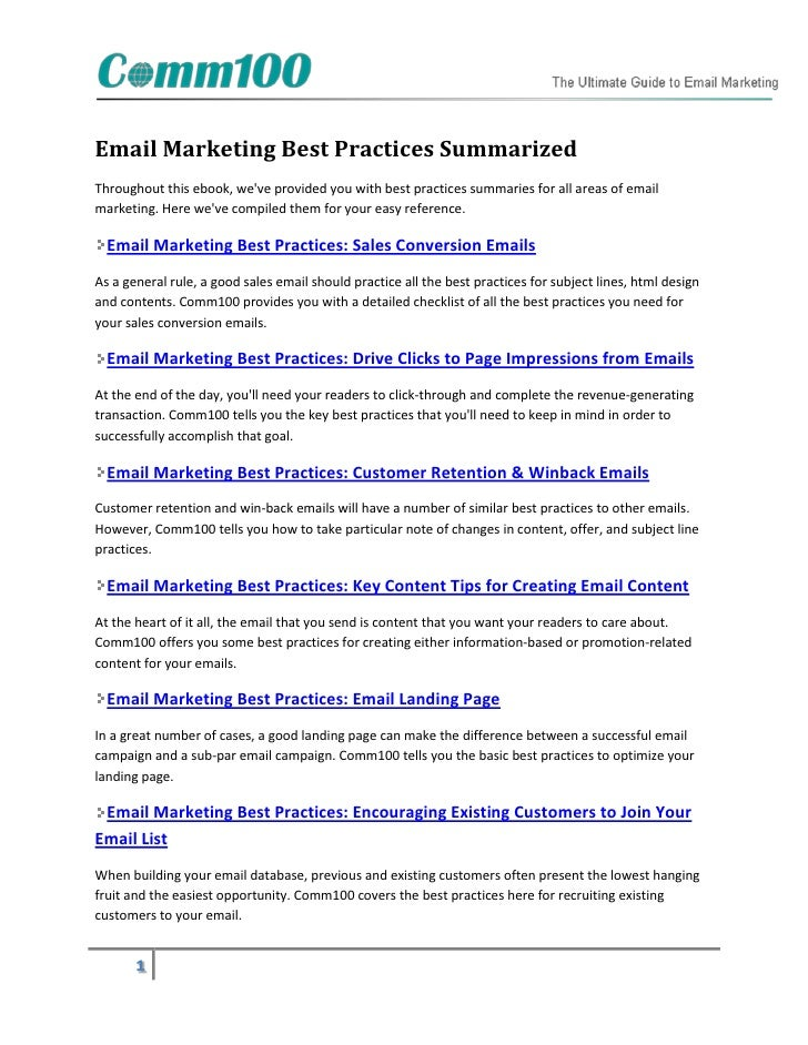 Email Marketing Best Practices SummarizedThroughout this ebook, weve provided you with best practices summaries for all ar...