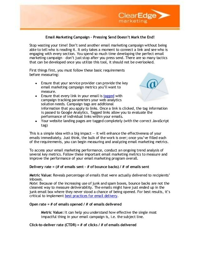 Email marketing campaign – pressing send doesn't mark the end