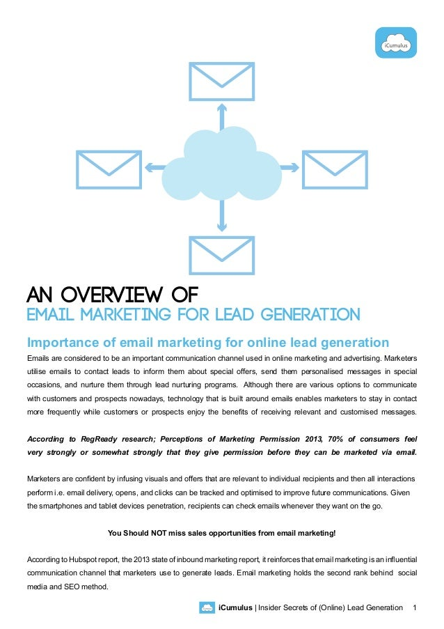 iCumulus | Insider Secrets of (Online) Lead Generation 1 An Overview of Email Marketing for Lead Generation Importance of ...