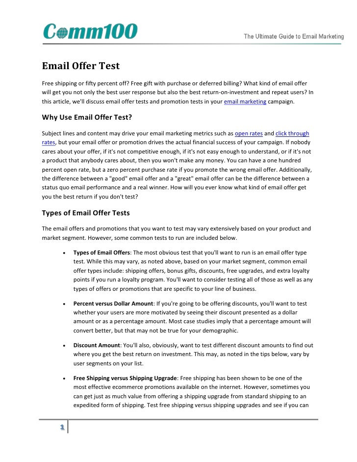 Email Offer TestFree shipping or fifty percent off? Free gift with purchase or deferred billing? What kind of email offerw...