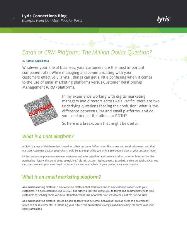 Email or CRM Platform: The Million Dollar Question?– Lyris Blog
