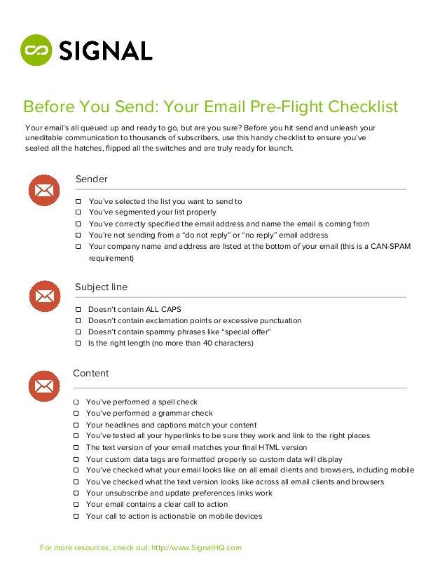 Email pre flight checklist