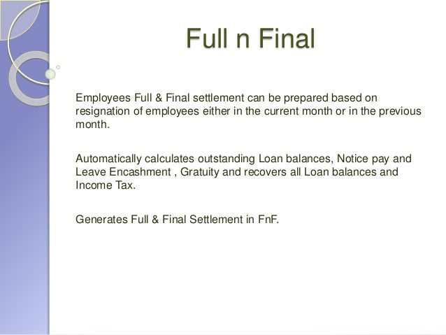 Sample Employee Full And Final Settlement Letter Letter
