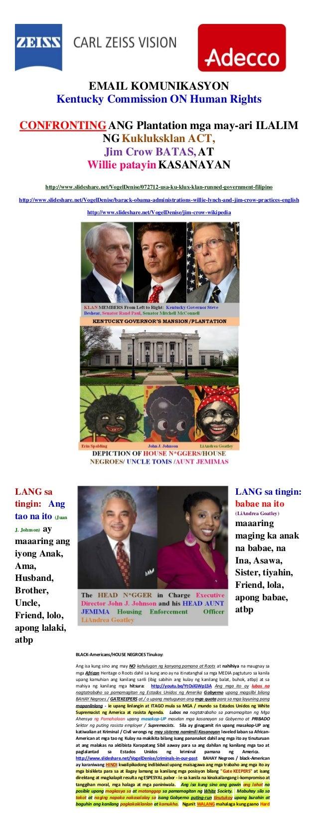 EMAIL KOMUNIKASYON Kentucky Commission ON Human Rights CONFRONTINGANG Plantation mga may-ari ILALIM NGKukluksklan ACT, Jim...