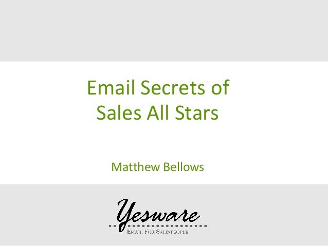 Email Secrets of the Sales All Stars
