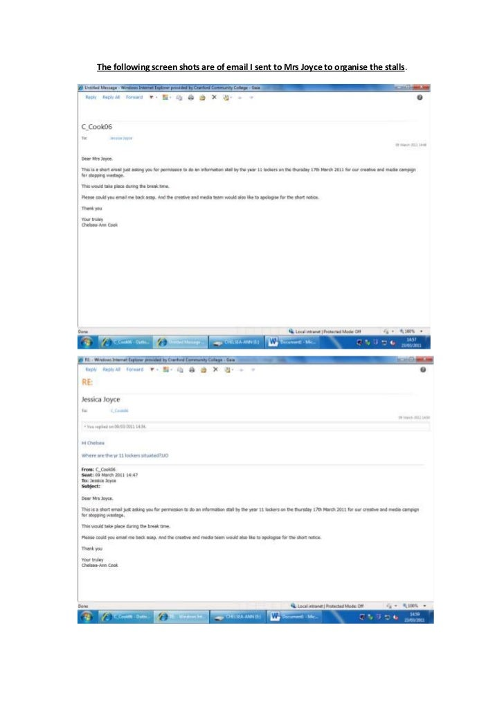 24765034290000The following screen shots are of email I sent to Mrs Joyce to organise the stalls.<br />24765021907500<br /...