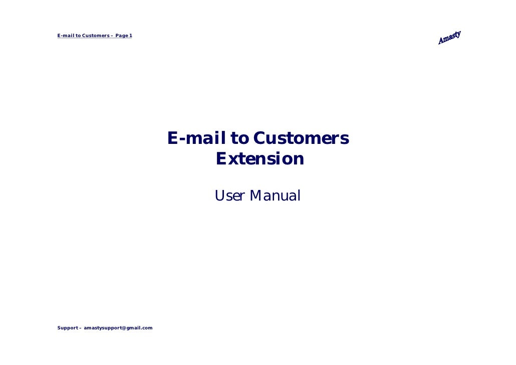 E-mail to Customers – Page 1                                    E-mail to Customers                                       ...