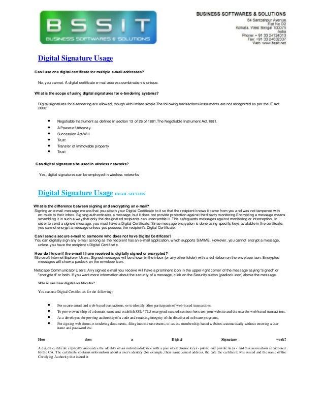 Digital Certificate Email usage