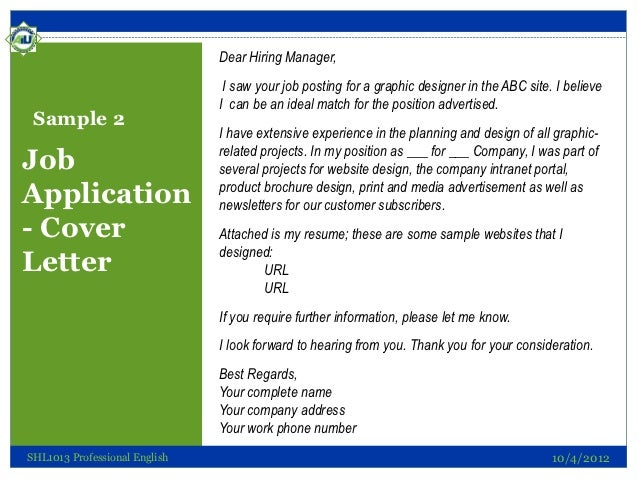application letter for it manager post