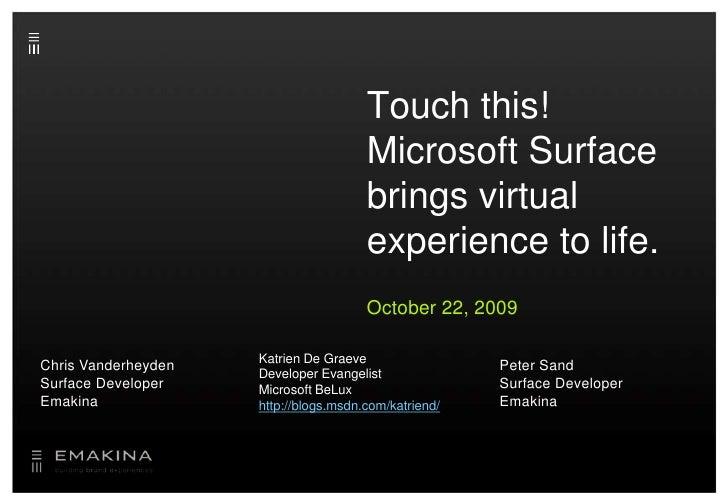 Emakina Academy 19 : Microsoft presentation