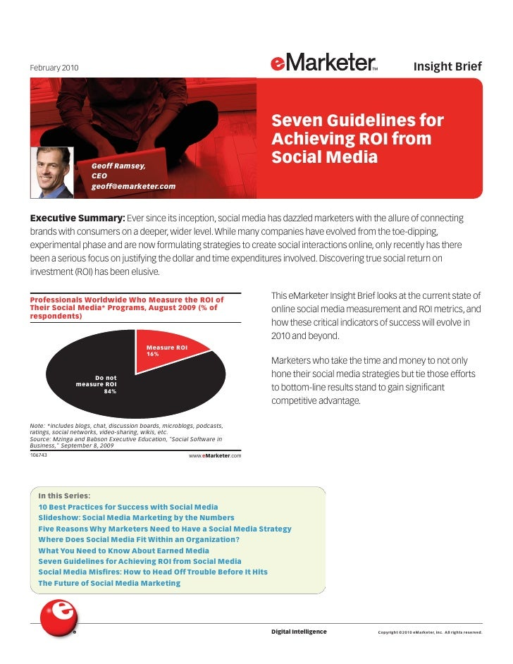 Seven Guidelines for Achieving ROI from Social Media
