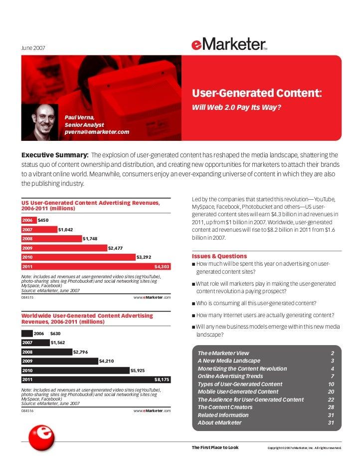 June 2007                                                                                     User-Generated Content:     ...