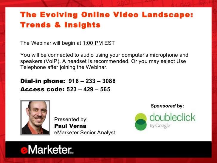 eMarketer Webinar: The Evolving Online Video Landscape